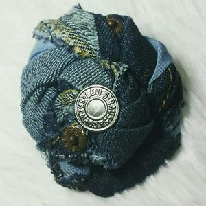 Tasty Raw Edge Levis Strauss Denim Rose Brooch